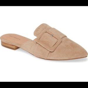 HALOGEN- Elyssa Buckle Mule. Nordstrom's Tan suede pointed toe flat slide shoe